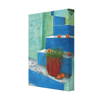 Stairs & Oranges Watercolor Painting Wrapped Canva Canvas Print