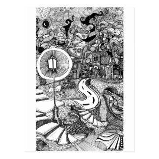 Stairs Under Lamplight pen and ink illustration Postcard