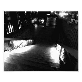 Stairway At Night Black And White Photo