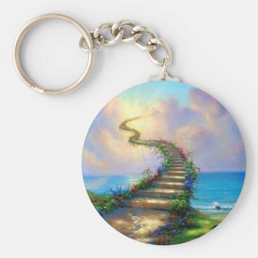 Stairway to Heaven Basic Round Button Keychain
