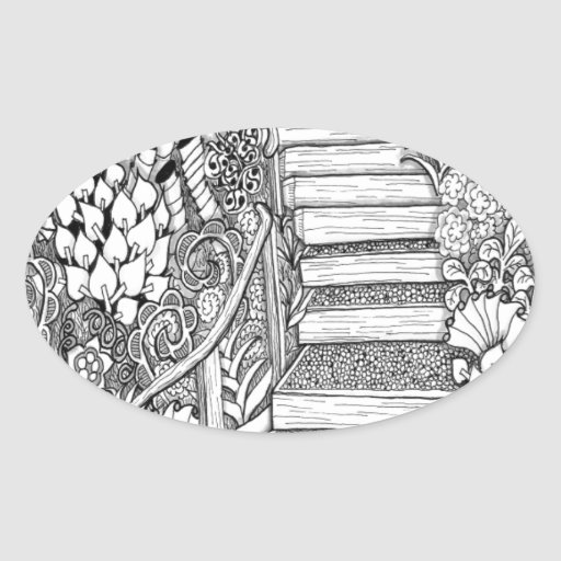 Stairway to Heaven Zentangle Oval Stickers