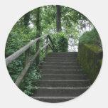 Stairway to the trees round sticker