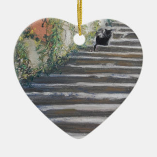 Stairway to Tuscany Black Cat Ceramic Ornament