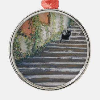 Stairway to Tuscany Black Cat Metal Ornament