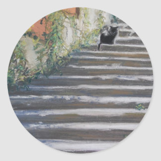 Stairway to Tuscany Black Cat Stickers