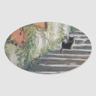 Stairway to Tuscany Black Cat Oval Stickers