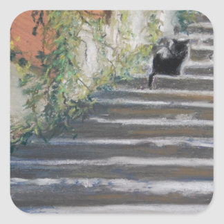 Stairway to Tuscany Black Cat Square Sticker