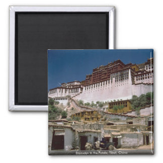 Stairways to the Potala, Tibet, China 2 Inch Square Magnet