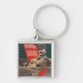 Stalin Silver-Colored Square Keychain