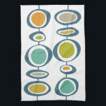 """Stalk Geometric Mid Century Modern Hand Towel<br><div class=""""desc"""">Add a pop of color to your mid-century kitchen with this adorable retro kitchen towel. It features the bright and bold colors of turquoise,  blue,  orange,  gold and tan.</div>"""