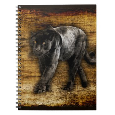 Aztec Themed Stalking Black Panther Artwork Notebook