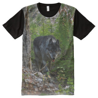 Stalking Grey Wolf & Forest Wildlife Photo Art All-Over Print Shirt