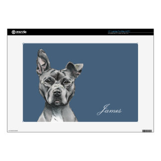 "Stalky Pit Bull Dog Drawing Decals For 15"" Laptops"