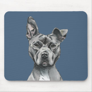 Stalky Pit Bull Dog Drawing Mouse Pad