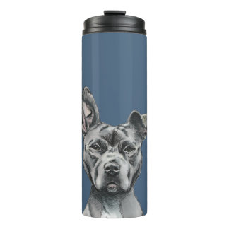 Stalky Pit Bull Dog Drawing Thermal Tumbler