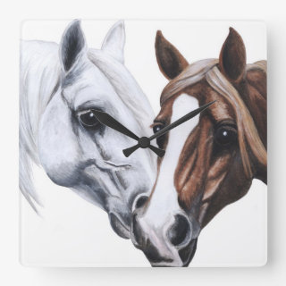 stallion and mare wall clock