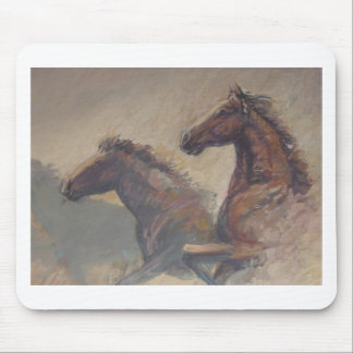 Stallion Duo in Pastels Mouse Pads