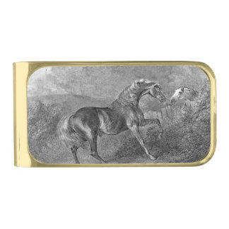 Stallion Horse Vintage Illustration Gold Finish Money Clip