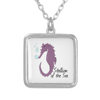 Stallion Of The Sea Square Pendant Necklace