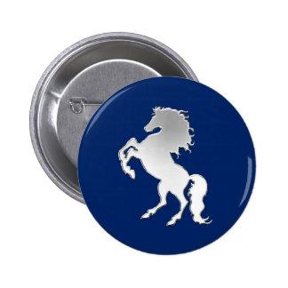 Stallion on Navy Blue Button