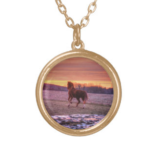 Stallion Running Home at Sunset on Ranch Round Pendant Necklace