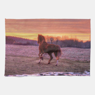 Stallion Running Home at Sunset on Ranch Towel