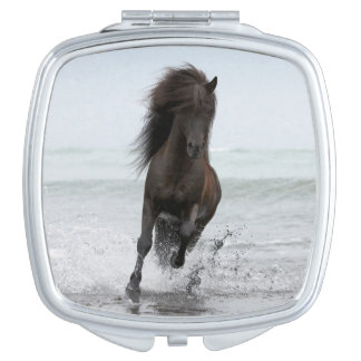 Stallion Running On Beach | North Atlantic Vanity Mirror