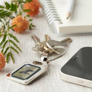 Stallion Strut Silver-Colored Rectangular Metal Keychain