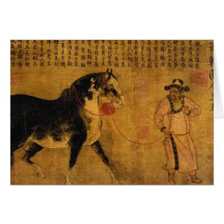 Stallion with Groom Greeting Card