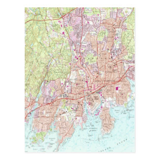 Stamford Connecticut Map (1987) Postcard