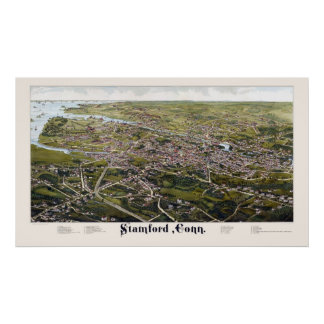 Stamford, CT Panoramic Map - 1883 Poster