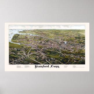 Stamford, CT Panoramic Map - 1883 Poster