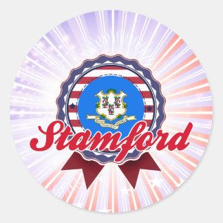 Stamford, CT Etiqueta Redonda