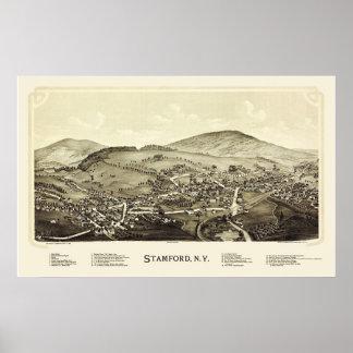 Stamford, mapa panorámico de NY - 1890 Póster