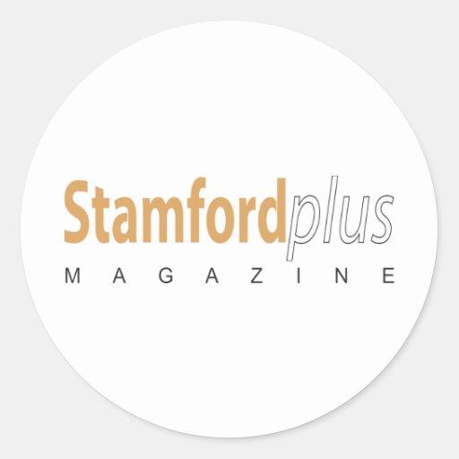 Stamford más la revista pegatinas redondas