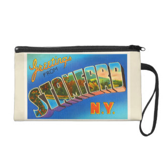 Stamford New York NY Old Vintage Travel Souvenir Wristlet Purse