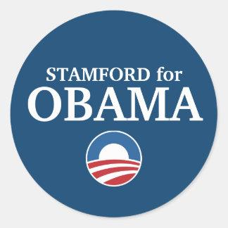 STAMFORD para el personalizado de Obama su ciudad Pegatinas Redondas