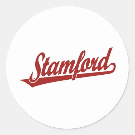 Stamford script logo in red classic round sticker