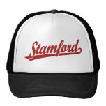 Stamford script logo in red trucker hat