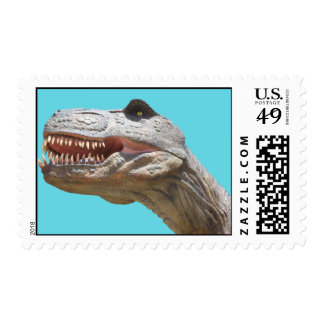 Stamo, Tyrannosaurus, blue background Postage