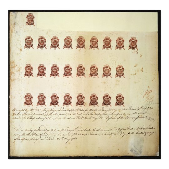 Stamp Act 1765 One Penny Stamp Proof Sheet Photo Print