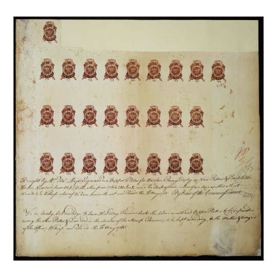 Stamp Act 1765 One Penny Stamp Proof Sheet Poster