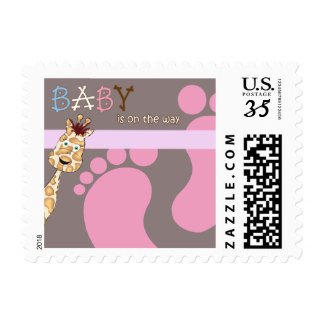 Stamp Baby Shower Invitation feet & Giraffe