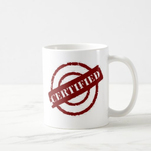 stamp certified red coffee mugs