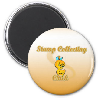 Stamp Collecting Chick 2 Inch Round Magnet