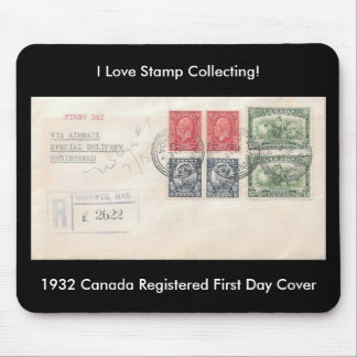 Stamp Collecting Mousepad 1932 Canada FDC