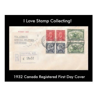 Stamp Collecting Postcard 1932 Canada FDC