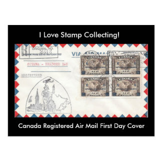 Stamp Collecting Postcard Canada 1932 FDC & FFC