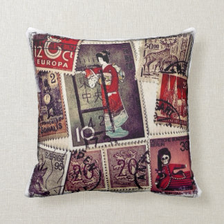 Stamp Collection Throw Pillow