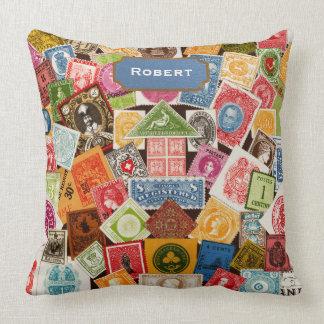Stamp Collector Throw Pillow